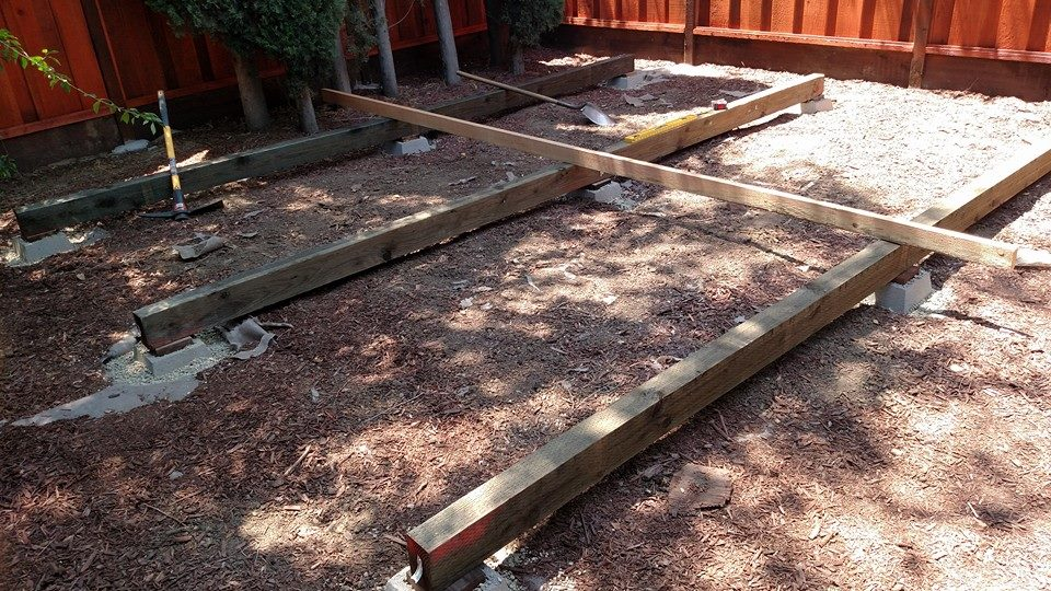 Beams aligned, piers set. Now attach the beams to piers, and you are done.
