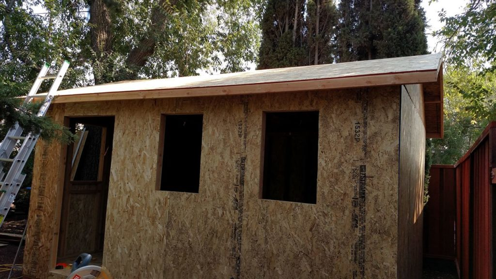 Roof is ready, as well as window and door openings.